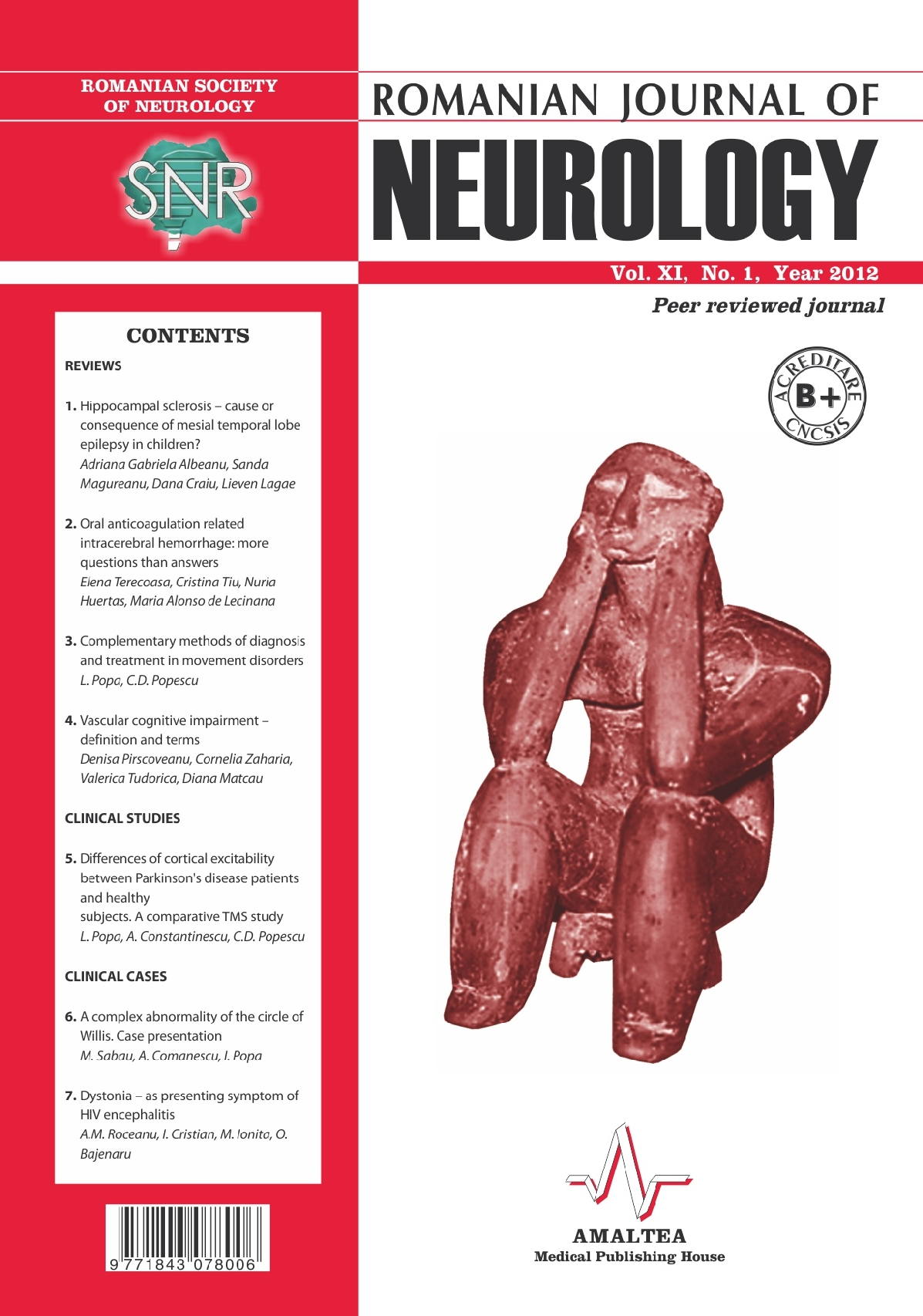 Romanian Journal of Neurology, Volume XI, No. 1, 2012