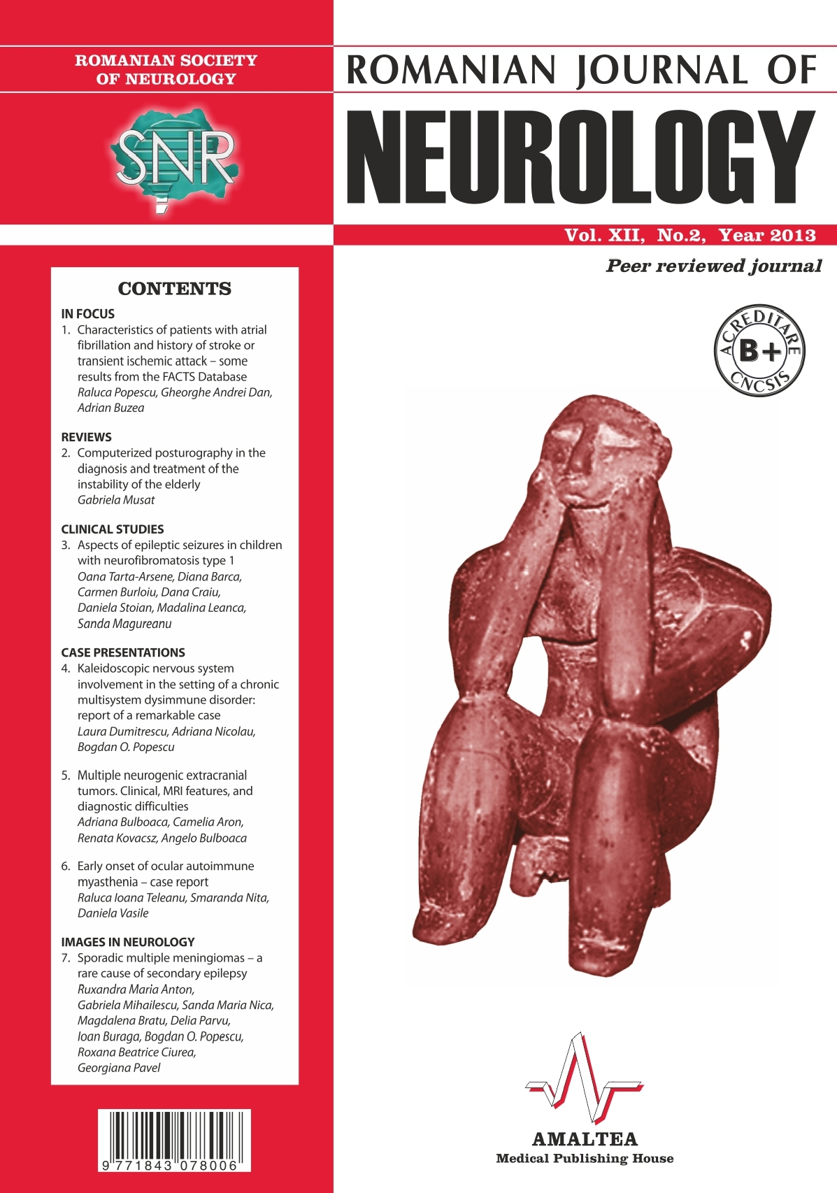 Romanian Journal of Neurology, Volume XII, No. 2, 2013