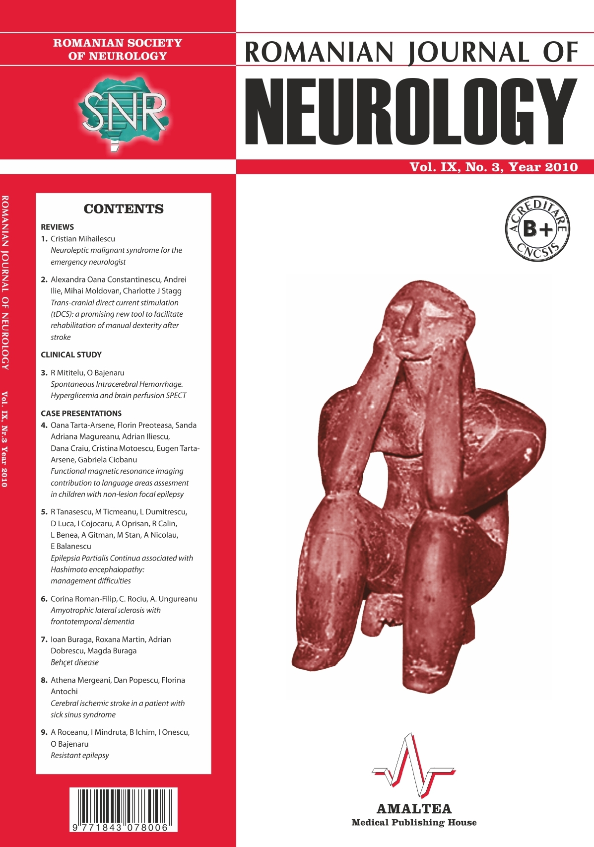 Romanian Journal of Neurology, Volume IX, No. 3, 2010