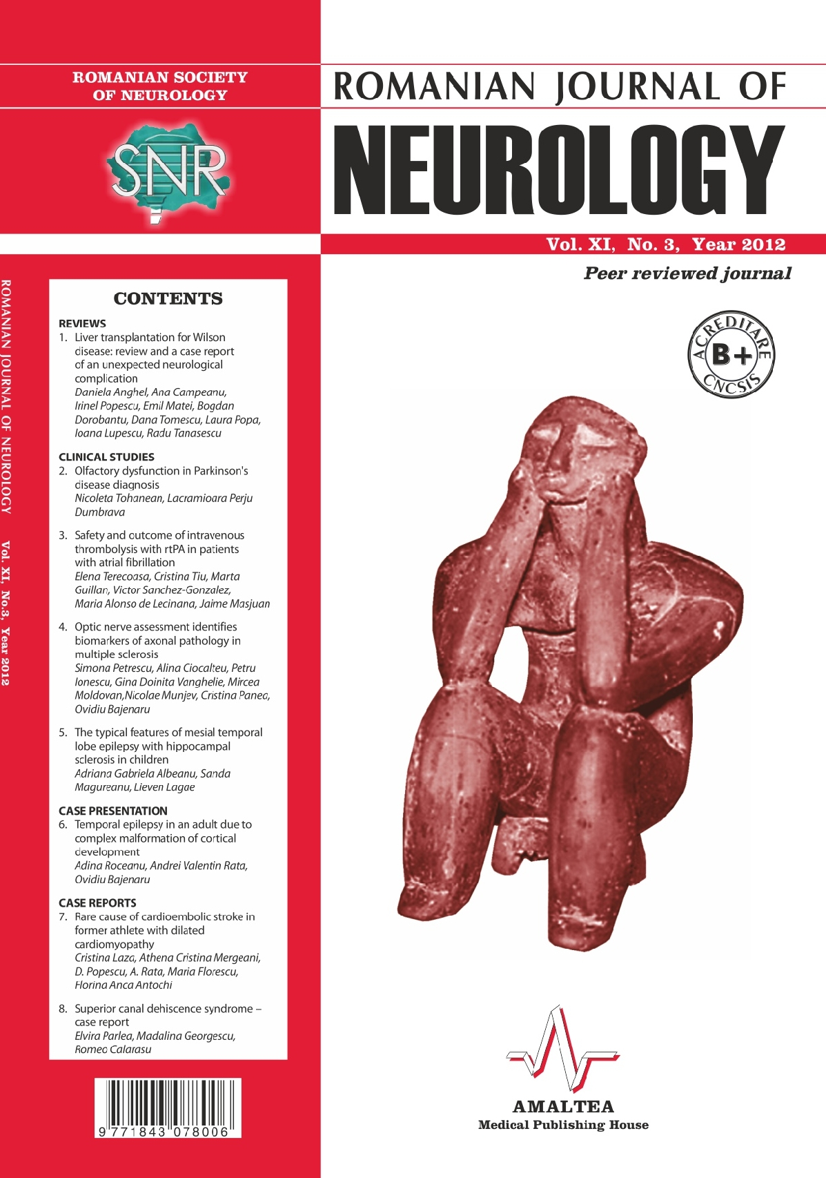 Romanian Journal of Neurology, Volume XI, No. 3, 2012