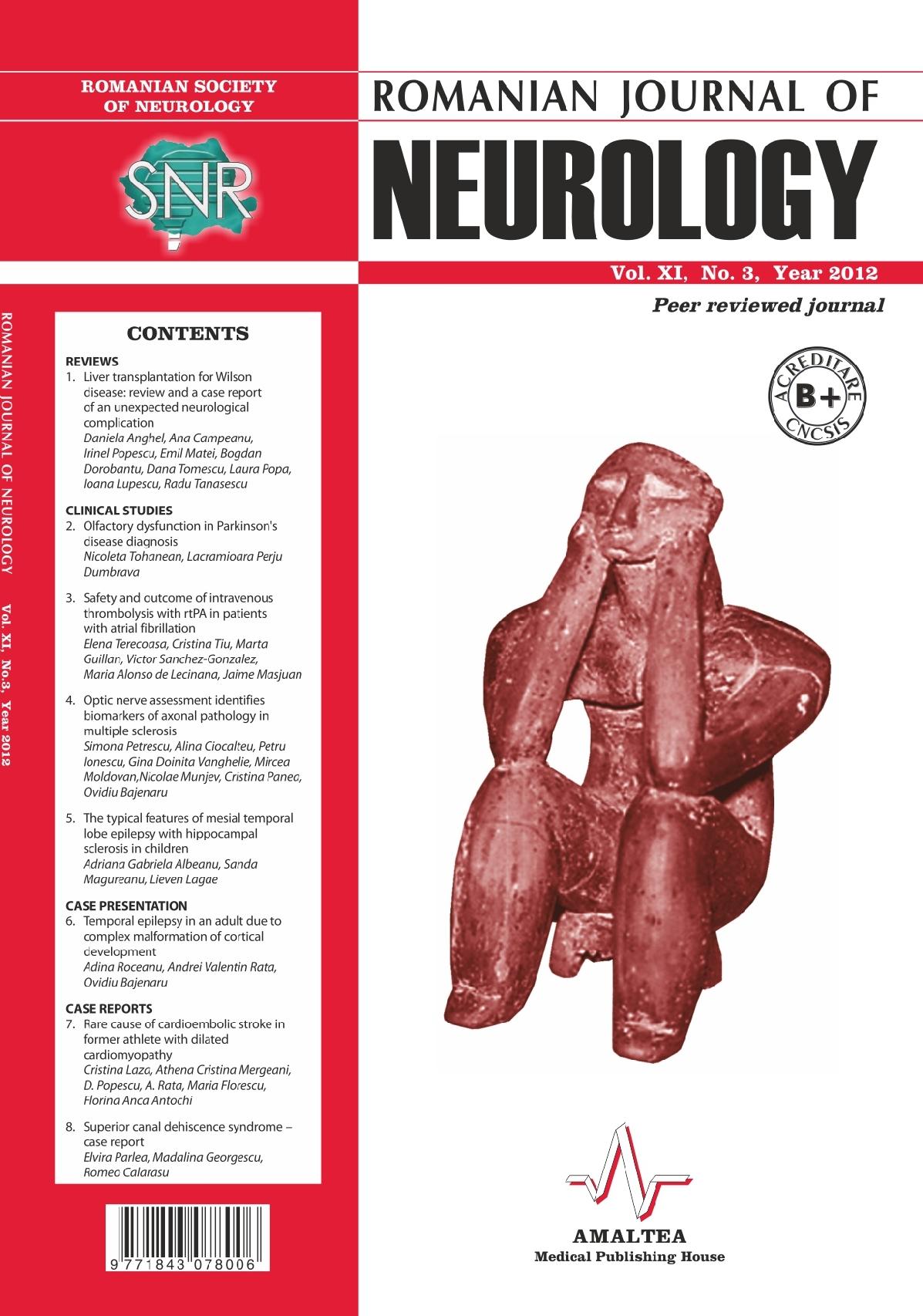 Romanian Journal of Neurology, Volume XI, No. 3, 2012
