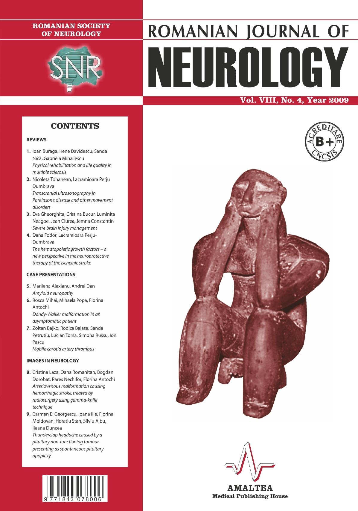 Romanian Journal of Neurology, Volume VIII, No. 4, 2009