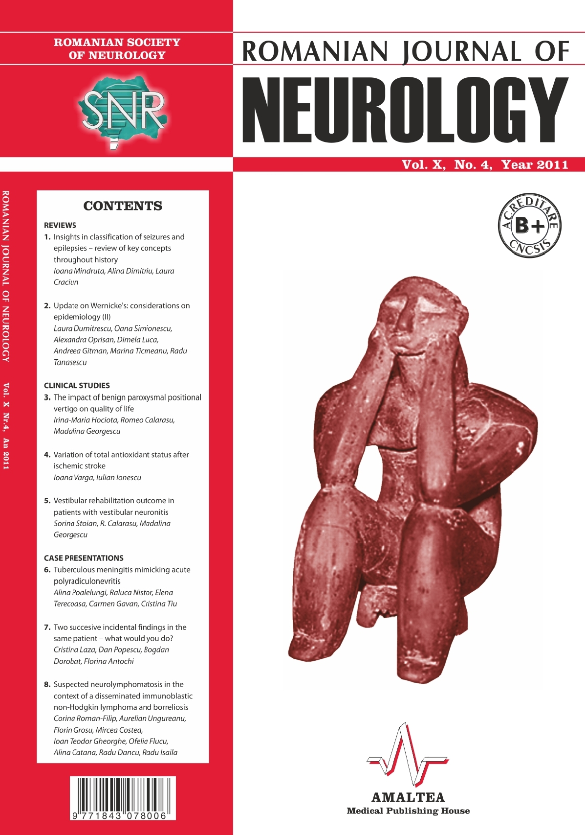 Romanian Journal of Neurology, Volume X, No. 4, 2011