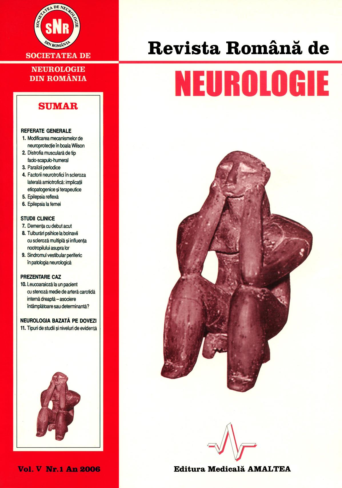 Romanian Journal of Neurology, Volume V, No. 1, 2006