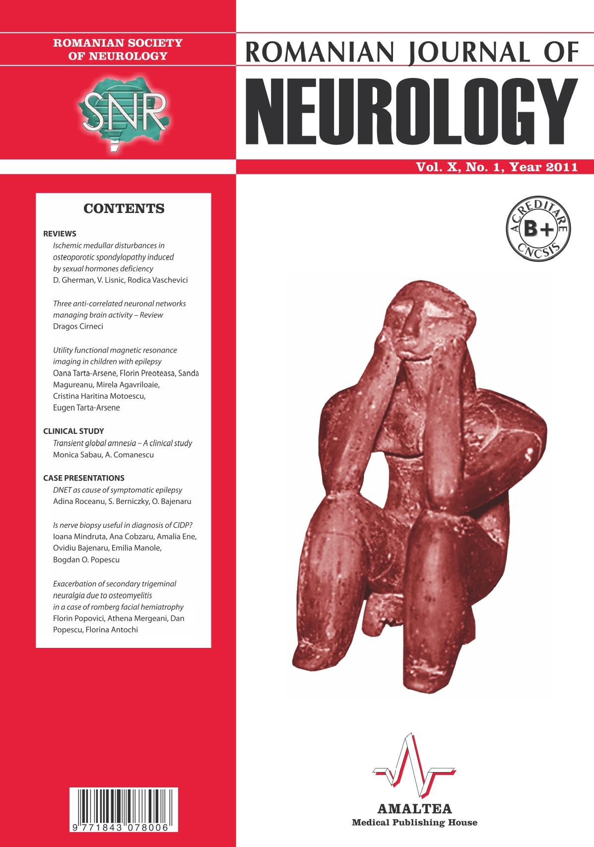 Romanian Journal of Neurology, Volume X, No. 1, 2011