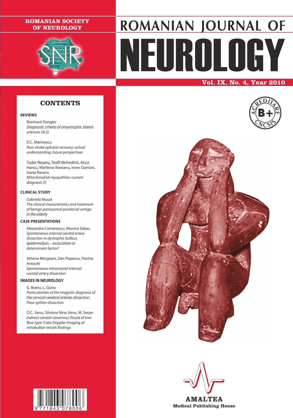 Romanian Journal of Neurology, Volume IX, No. 4, 2010
