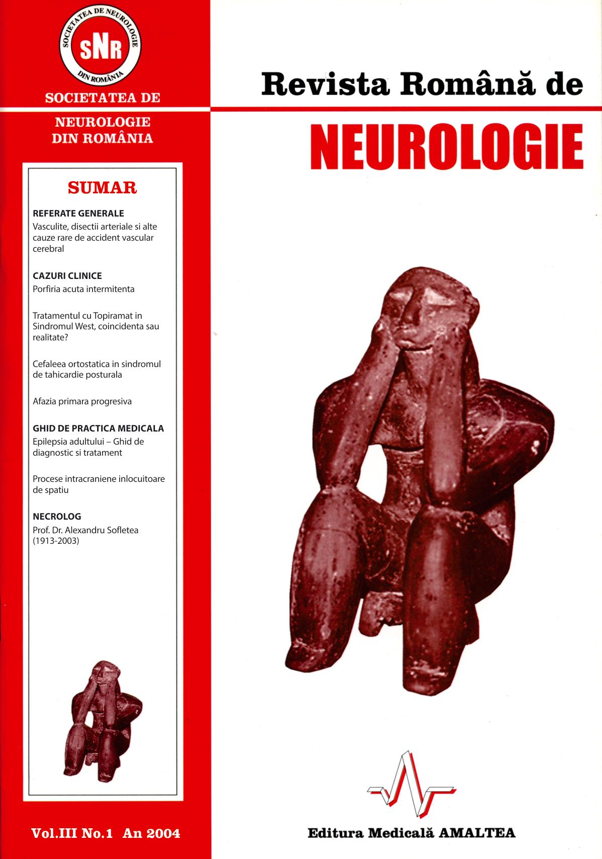 Romanian Journal of Neurology, Volume III, No. 1, 2004