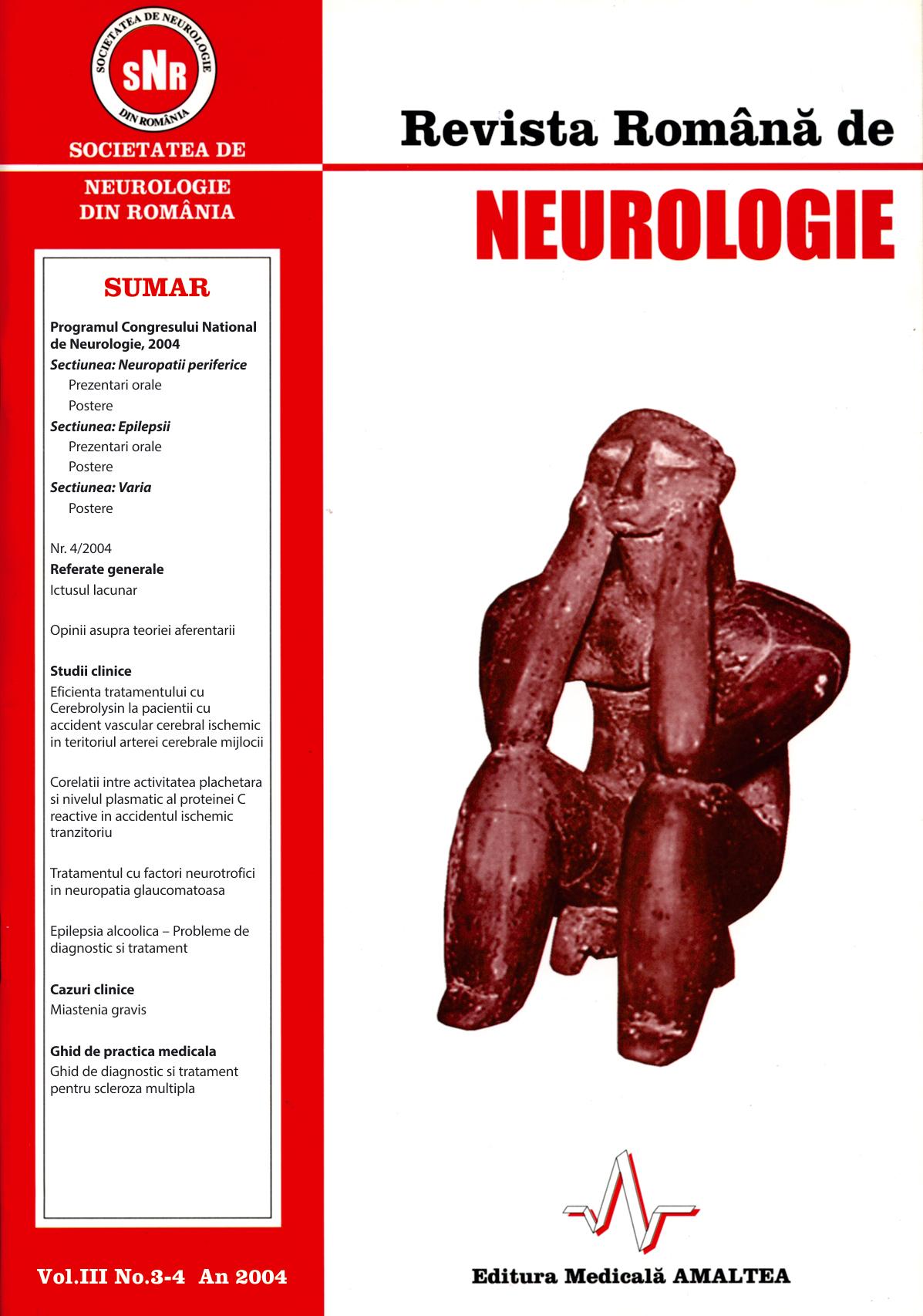 Romanian Journal of Neurology, Volume III, No. 3-4, 2004