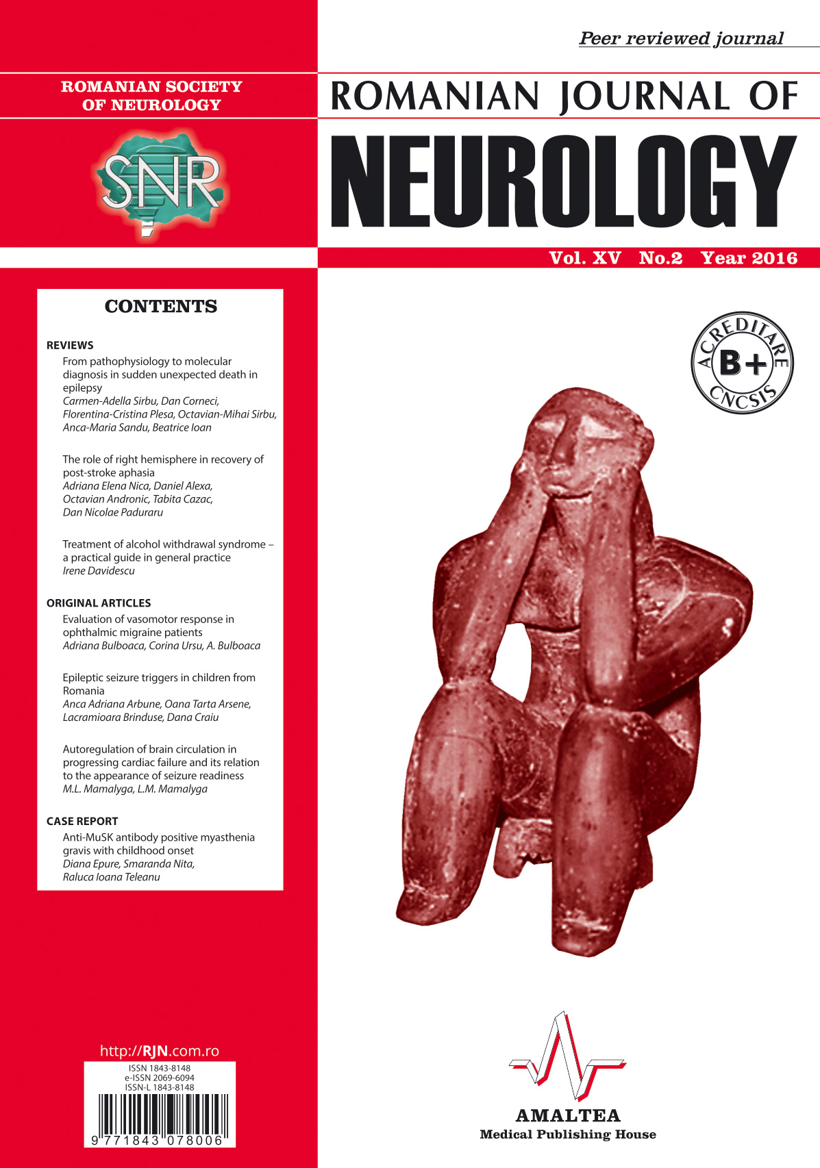 Romanian Journal of Neurology, Volume XV, No. 2, 2016
