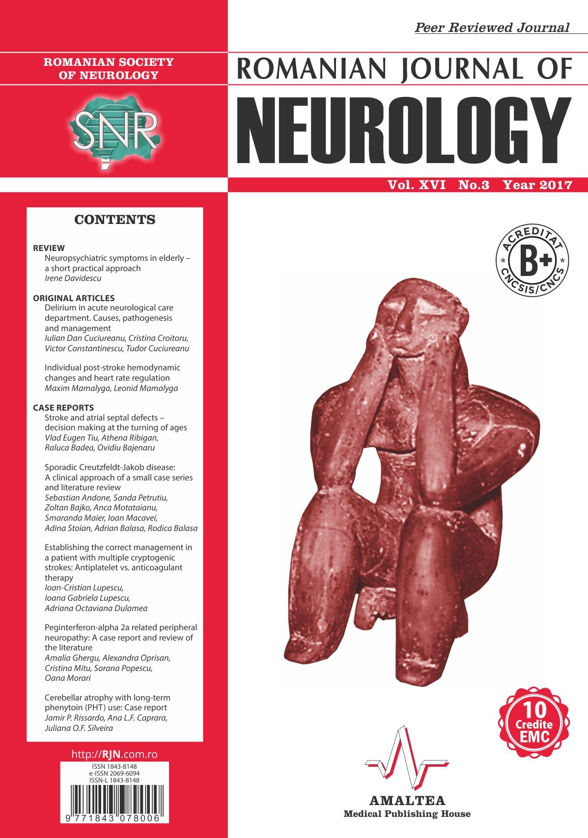 Romanian Journal of Neurology, Volume XVI, No. 3, 2017