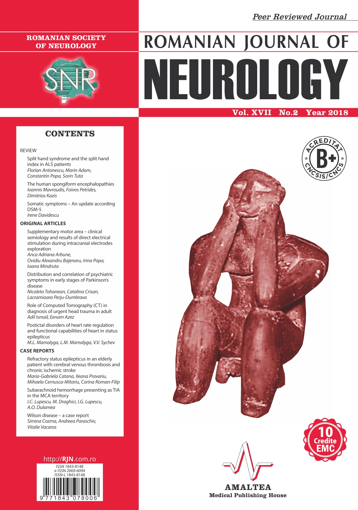 Romanian Journal of Neurology, Volume XVII, No. 2, 2018