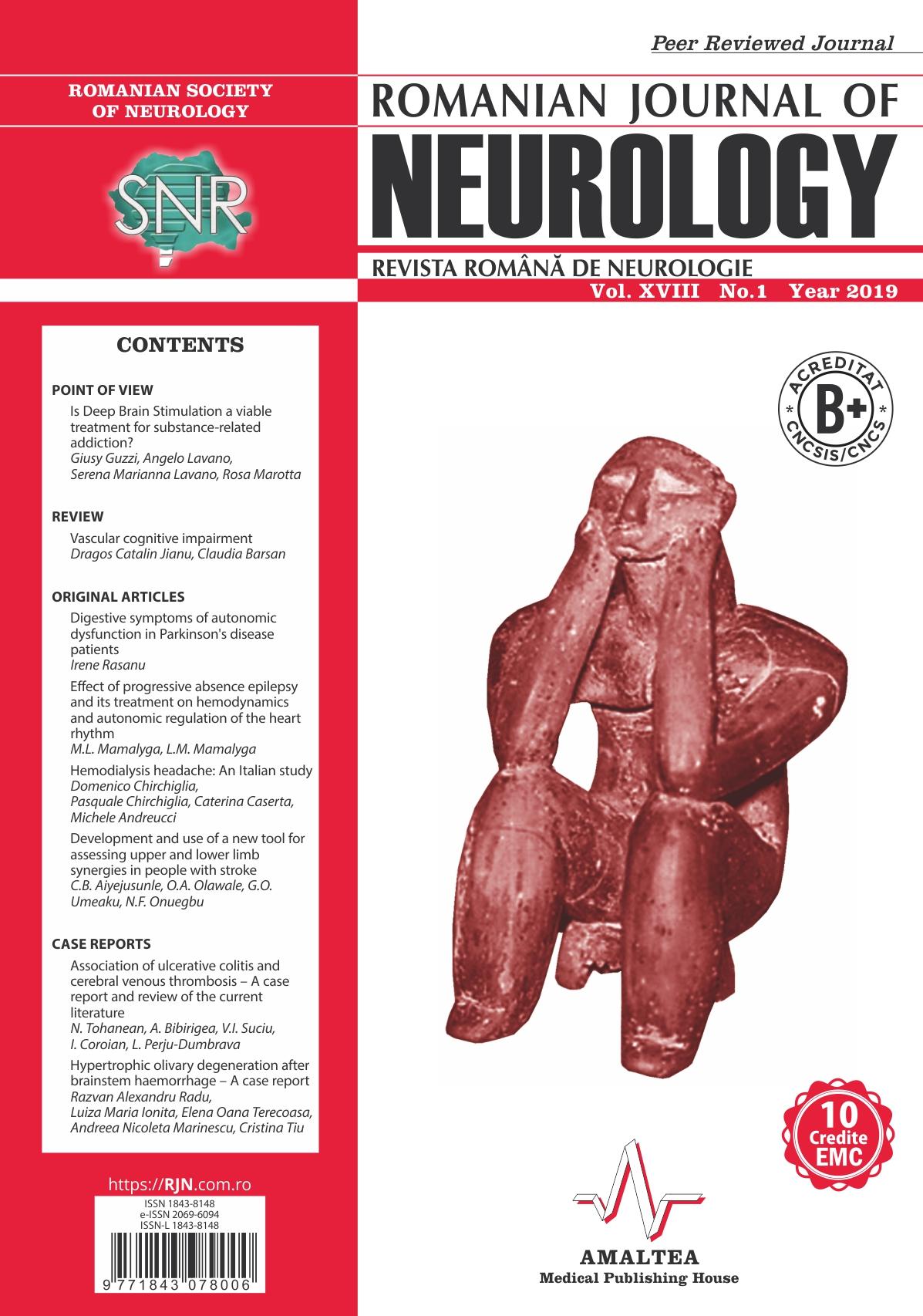 Romanian Journal of Neurology, Volume XVIII, No. 1, 2019
