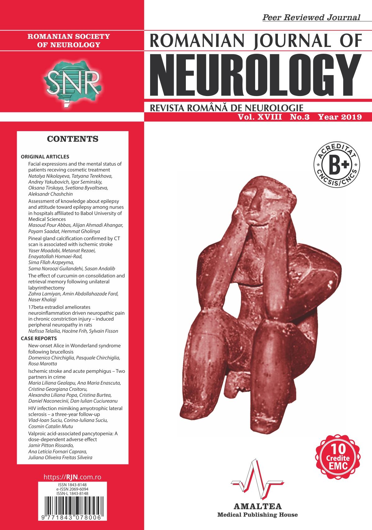 Romanian Journal of Neurology, Volume XVIII, No. 3, 2019